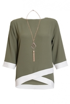Quiz Curve Khaki Contrast 3/4 Sleeve Necklace Top