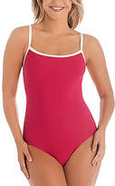 Penbrooke Raspberry Faille Ribbed One-Piece - Plus Too