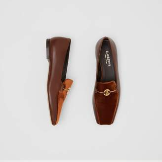 Burberry Monogram Motif Velvet and Leather Loafers