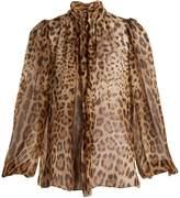 Dolce & Gabbana Leopard-print tie-neck silk-chiffon top