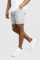 boohoo Mens Grey Skinny Fit Chino Short In Mid Length, Grey
