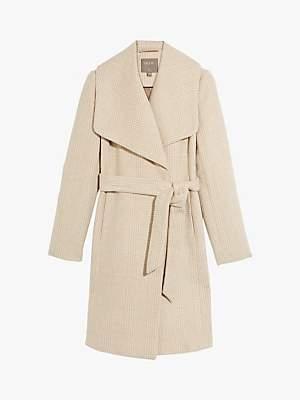 Oasis Check Wrap Coat, Natural