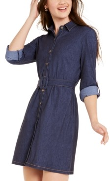 Ultra Flirt Juniors' Belted Shirtdress