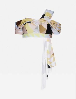 Self-Portrait One-shoulder abstract-geometric pattern bikini top