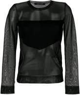 Neil Barrett sheer blouse with geometric panel