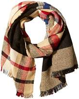 D&Y Women's Buffalo and Glen Plaid Reversible Blanket Scarf with Frayed Edge