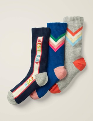 3 Pack Ribbed Graphic Socks