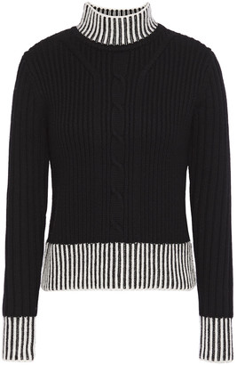 Equipment Striped Cable-knit Wool Turtleneck Sweater