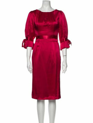 Dolce & Gabbana Silk Midi Length Dress Red