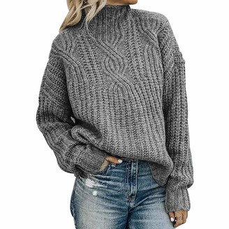 Peuignao Oversized Knit Jumper Women Jumpers For Women High Neck Sweater Pullover Knitted Jumper Womens Sweatshirts Sweaters For Women Ladies Jumpers Baggy Cable Knit Long Sleeve Jumper Womens Plus Size Grey L