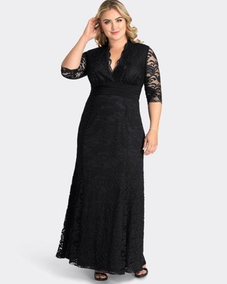 Kiyonna Screen Siren Lace Gown Dress in Black Size 0X