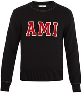 Ami Logo-appliqué crew-neck wool sweater