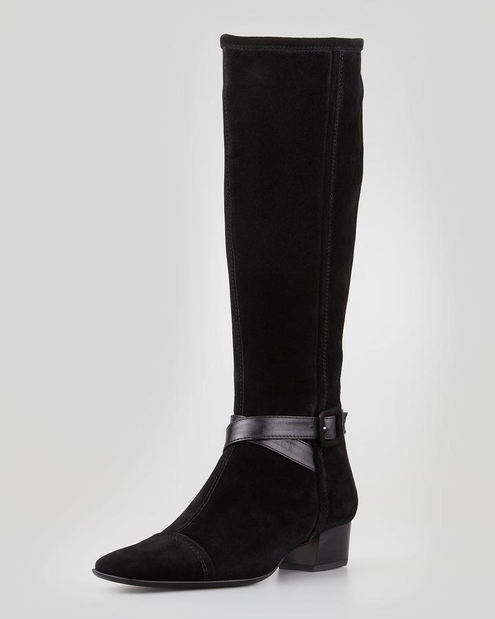 Sesto Meucci Dana Side-Buckle Suede Boot, Black