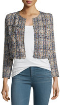 IRO Hella Frayed-Trim Cropped Tweed Jacket, Blue/Multicolor