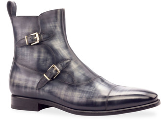 Ike Behar Men's Octavian Patina Leather Double-Monk Boots