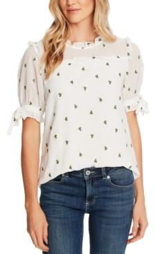 CeCe Floral-Embroidered Ruffled Top