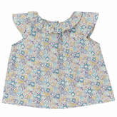 Marie Chantal Baby GirlMini Liberty Floral Ruffle Neck Blouse - Mint/Lavender