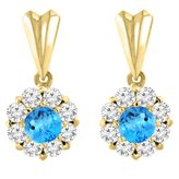 Sabrina Silver 14K Yellow Gold Natural Swiss Topaz Earrings with Diamond Halo Round 4 mm