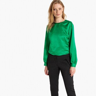 La Redoute Collections Silk Mix Blouse with Back Button Fastening