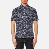 Michael Kors Men's Slim Fit Palm Print Long Sleeve Shirt Navy