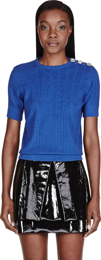 Marc Jacobs Blue Crystal-Embroidered Sweater