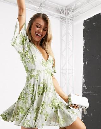 ASOS DESIGN soft floral godet mini dress with jaquard foil and green floral print