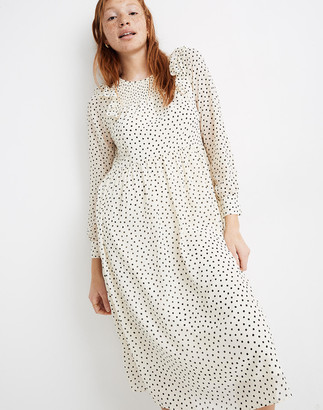 Madewell Petite Smocked Ruffle-Shoulder Midi Dress in Inkbrush Dots