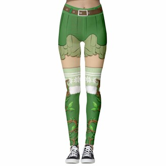 Yuncai Women's Printed Christmas Leggings Breathable Workout Sports Running Tights