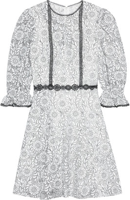 ML Monique Lhuillier Crochet-trimmed Embroidered Lace Mini Dress