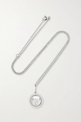 Moritz Glik 18-karat Gray Gold Palladium, Enamel, Sapphire Crystal And Diamond Necklace - Silver