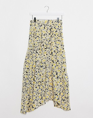 Topshop daisy print tiered midi skirt in yellow