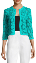 Anne Klein Broderie Anglaise On Mesh Cardigan