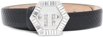 Philipp Plein Logo Plaque Buckled Belt