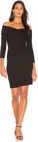 L'Agence Fantina Shoulder Wrap Dress in Black