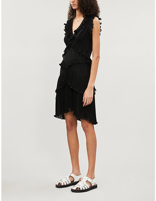 Zimmermann Super Eight sleeveless tiered-ruffles chiffon mini dress