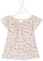 Simple shortsleeved floral print blouse