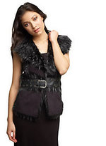 Rachel Zoe Luxe Faux Shearling Vest with Nailhead Detail