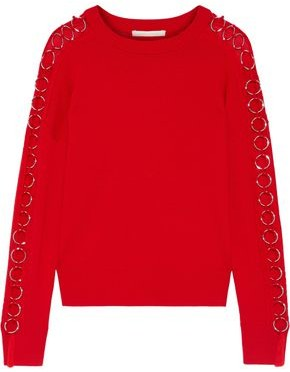 Jonathan Simkhai Ring-embellished Cutout Wool Sweater