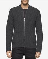 Calvin Klein Men's Maze-Pattern Zip-Front Sweater