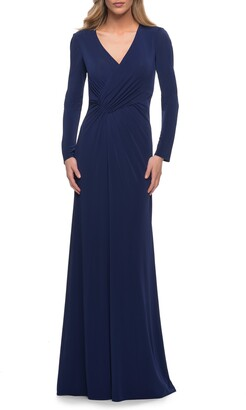 La Femme Ruched Long Sleeve Jersey Sheath Gown
