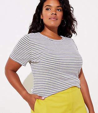 LOFT Plus Striped Ribbed Shoulder Button Tee