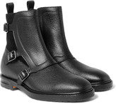 Alexander Mcqueen - Suede And Grained-leather Monk-strap Boots