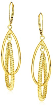 Mayamila 14k Yellow Gold Earrings with Shiny and Textured Teardrop Dangles