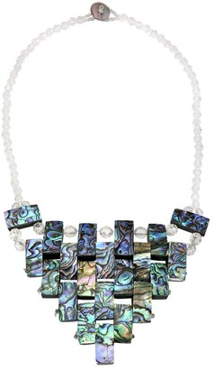 Aeravida Handmade Festive Woven Rectangles of Abalone Shell and Crystal Bead Statement Necklace