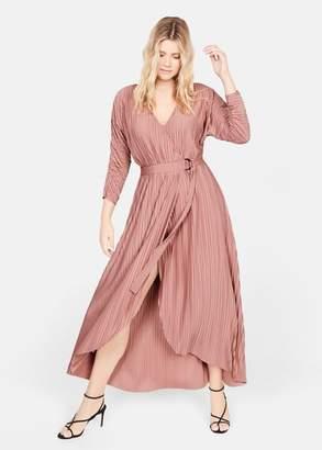 MANGO Pleated wrap dress