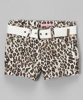 Brown Leopard Shorts & White Belt - Girls