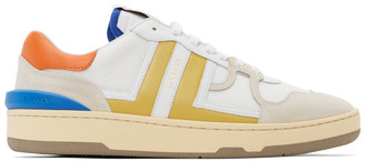 Lanvin White and Yellow Mesh Clay Low Sneakers