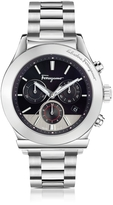 Salvatore Ferragamo Ferragamo 1898 Silver Stainless Steel Men's Chronograph Watch w/Black Dial