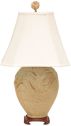 One Kings Lane Vintage Asian Studio Art Pottery Table Lamp - Pythagoras Place - lamp, tan/beige/brown/antiqued brass; shade, white
