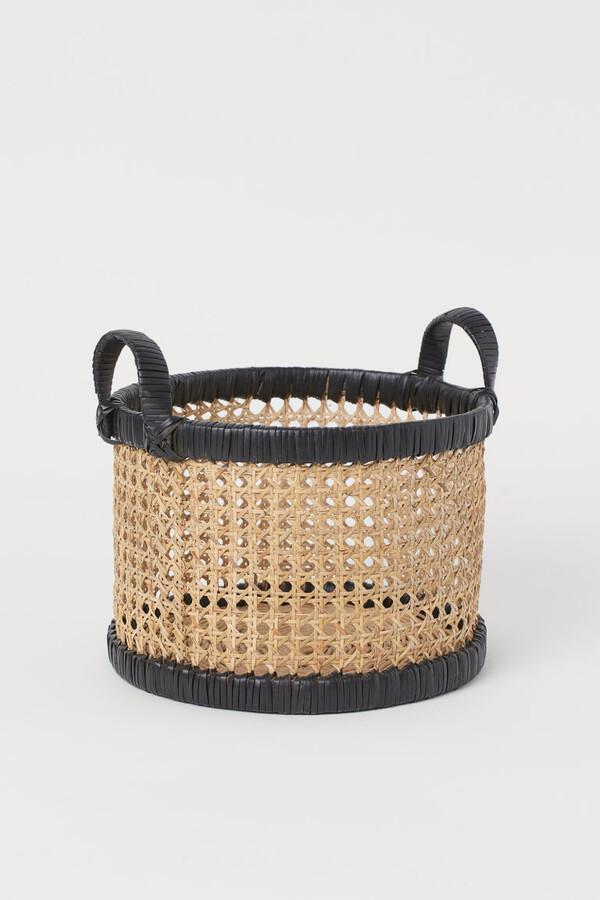 H&M - Small Rattan Basket - Black